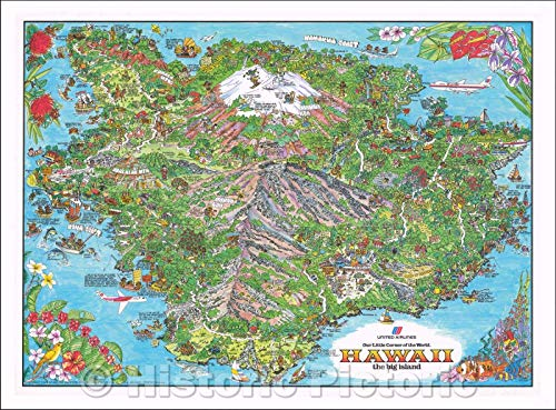 (Historic Map | Hawaii, United Airlines, Our Little Corner of the World. Hawaii. The Big Island, 1979, Kim Forrest | Vintage Wall Art 24in x 18in )