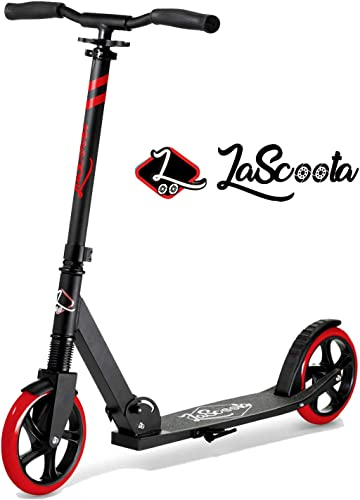 Lascoota Scooters for Kids 8 Years and up – Quick-Release Folding System – Dual Suspension System Scooter Shoulder Strap 7.9 Big Wheels Great Scooters for Adults and Teens