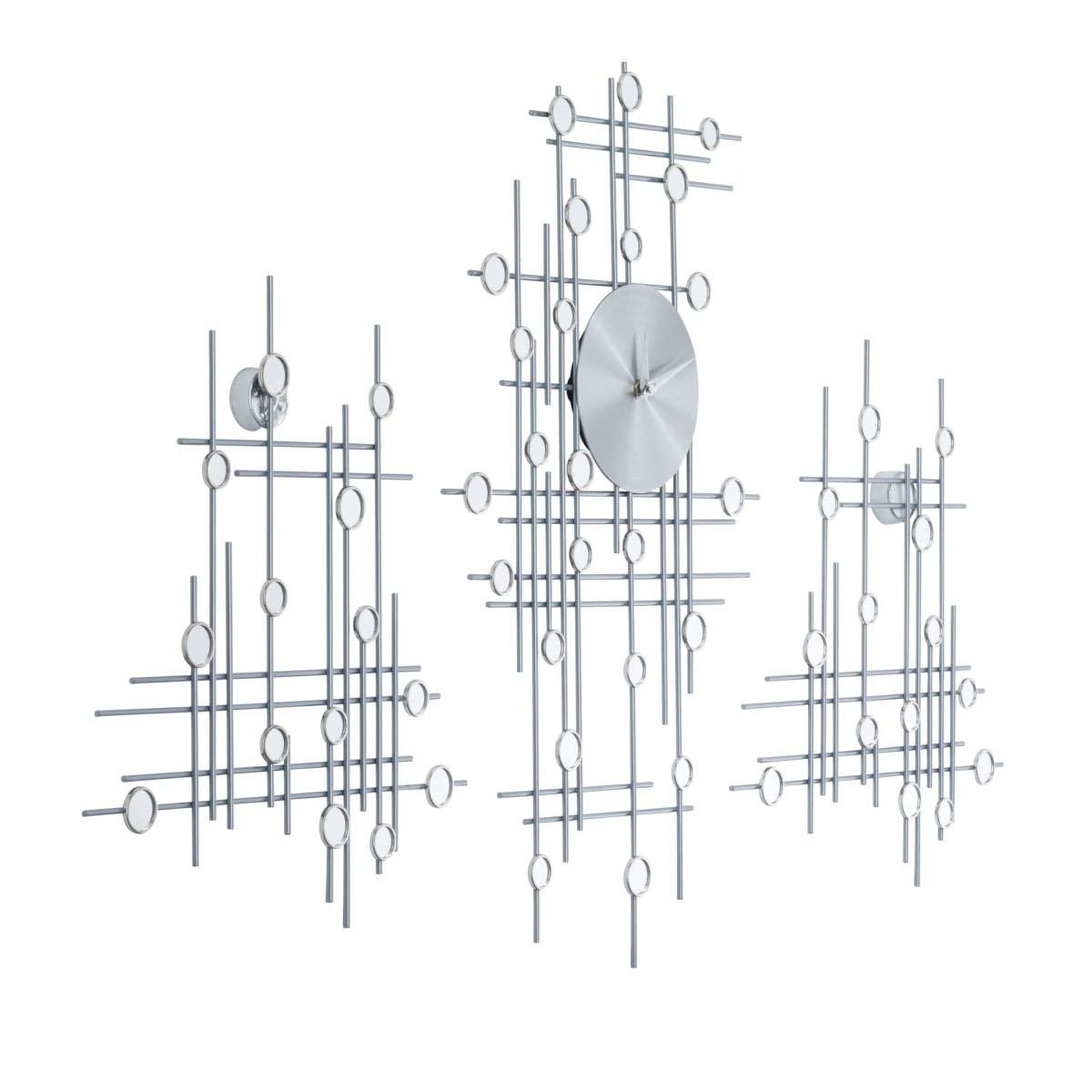 PuROTay Wanduhr 3 Elemente individuell platzierbar analog Metall Hochglanz modern Silber