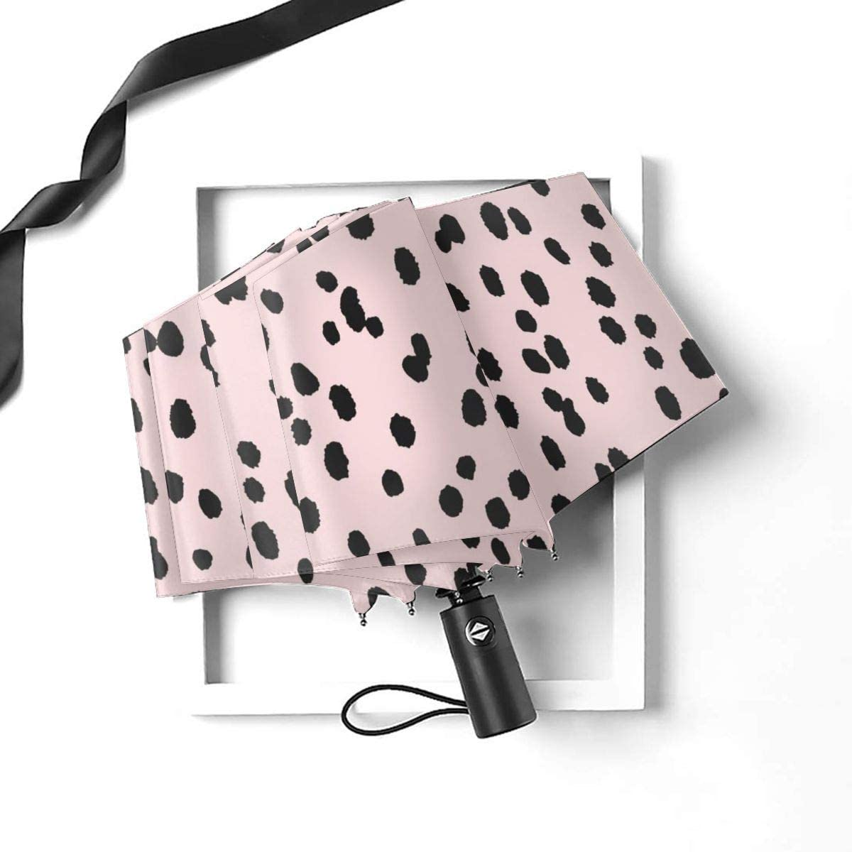 Black Seeing Spots Automatic Open Folding Compact Travel Umbrellas For Women