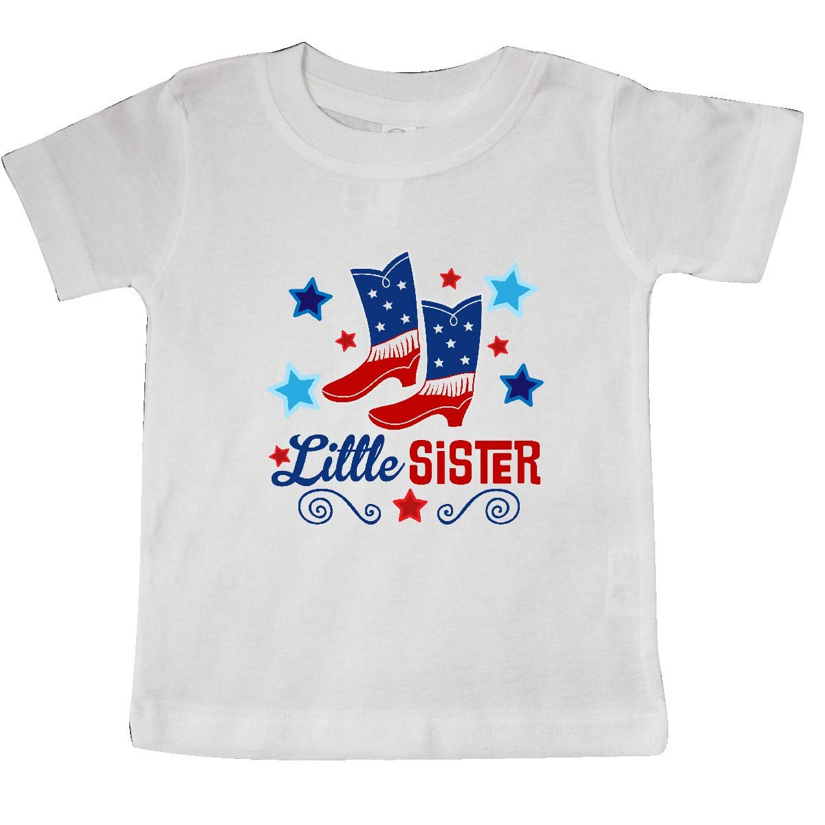 inktastic Little Sister Cowgirl 4th of July Baby T-Shirt
