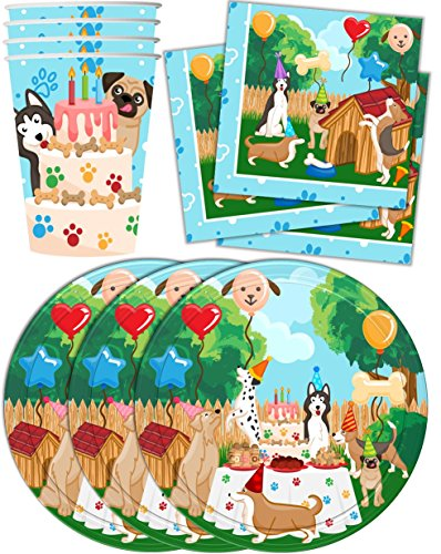 Puppy Dog Party Pups Birthday Party Supplies Set Plates Napkins Cups Kit for 16 by Birthday Galore (Party Dog)