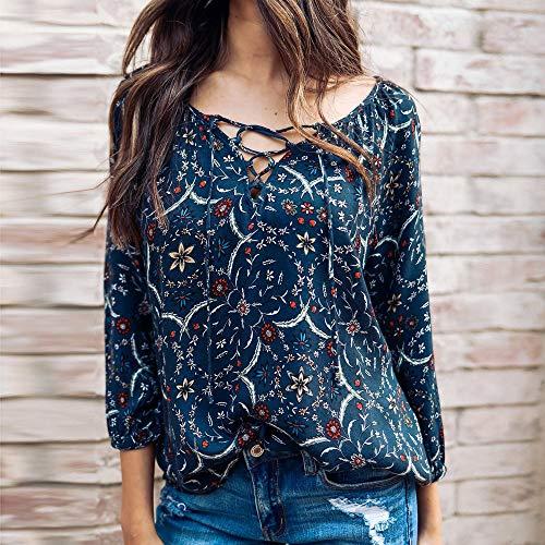 Top 3 Top Ample Shirt 4 Blouse Fashion Neck VJGOAL Marine T Floral Femmes Print V Sleeve DContract Fleurs O00pqFvS