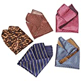 BMC Mens 5 pc Mixed Pattern Large 12 inch Pocket Square Fashion Handkerchief Accessories - Set 2: Country Comfort