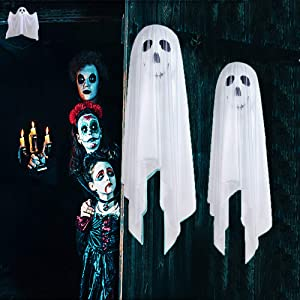 Halloween Decorations, Halloween Ghost Hanging Decorations Scary Creepy, Halloween Hanging Props Scary Halloween Hanging Skeleton Flying Ghost for Outdoor Indoor Home Yard White, 2 Pack