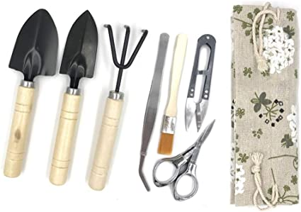 Amazon Com Bonsai Tool Kit Bonsai Tree Kit Succulent Gardening Tools Set Of 8 Pcs Includes Pruning Shears Mini Rake Fold Scissors And More Garden Outdoor