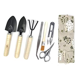 Yotek Bonsai Tree Growing Kit Succulent Gardening Tools Set of 8 pcs - Include Pruner, Fold Scissors, Mini Rake, Bud, Cleaning Brush & Leaf Trimmer (8pcs)