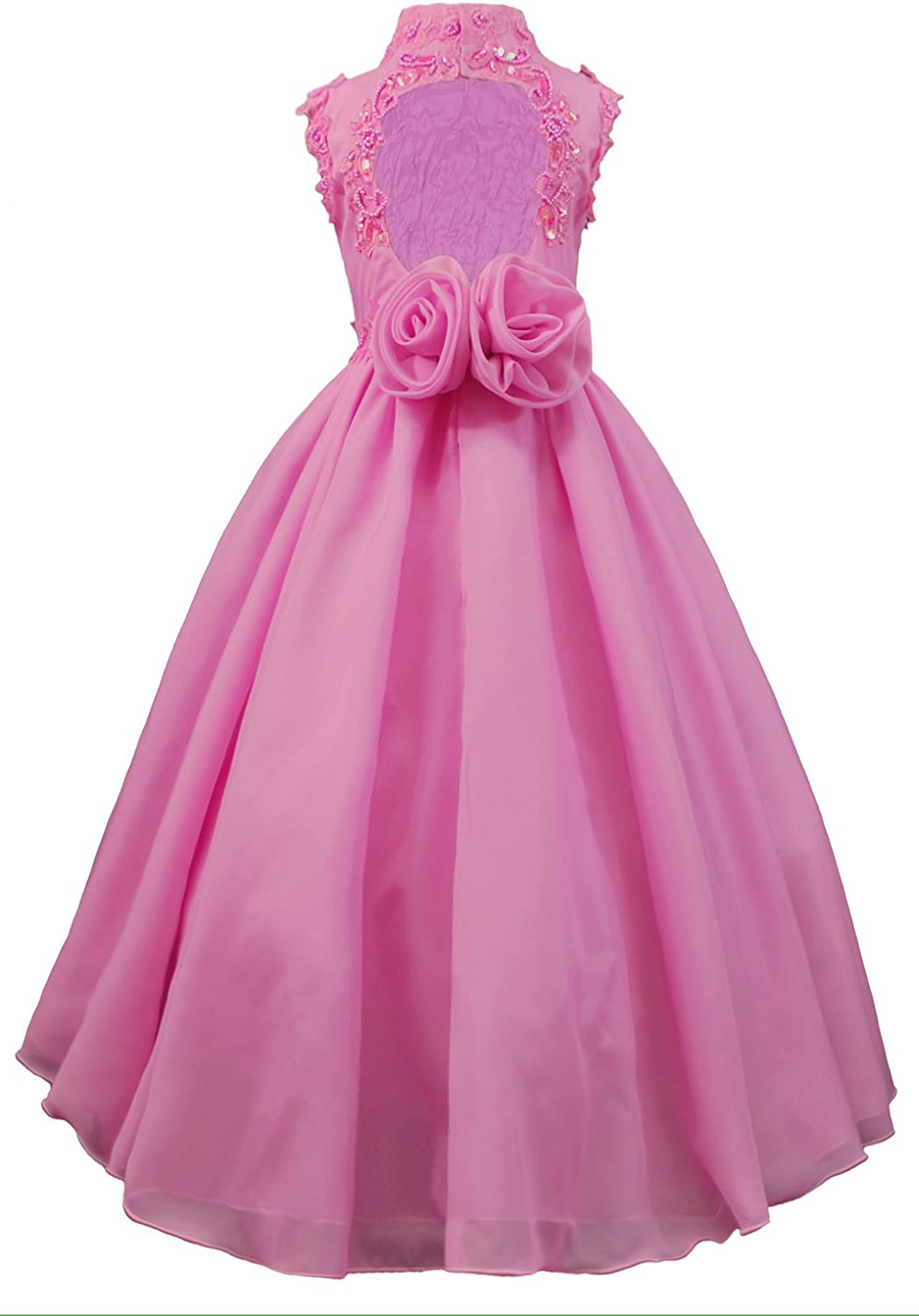 Unotux Girls Pageant Formal Fuchsia Pink Dresses Sequins Beads Embroidered Trim