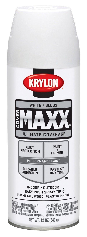 Krylon K09146007 COVERMAXX Spray Paint, Gloss White, 12 Ounce