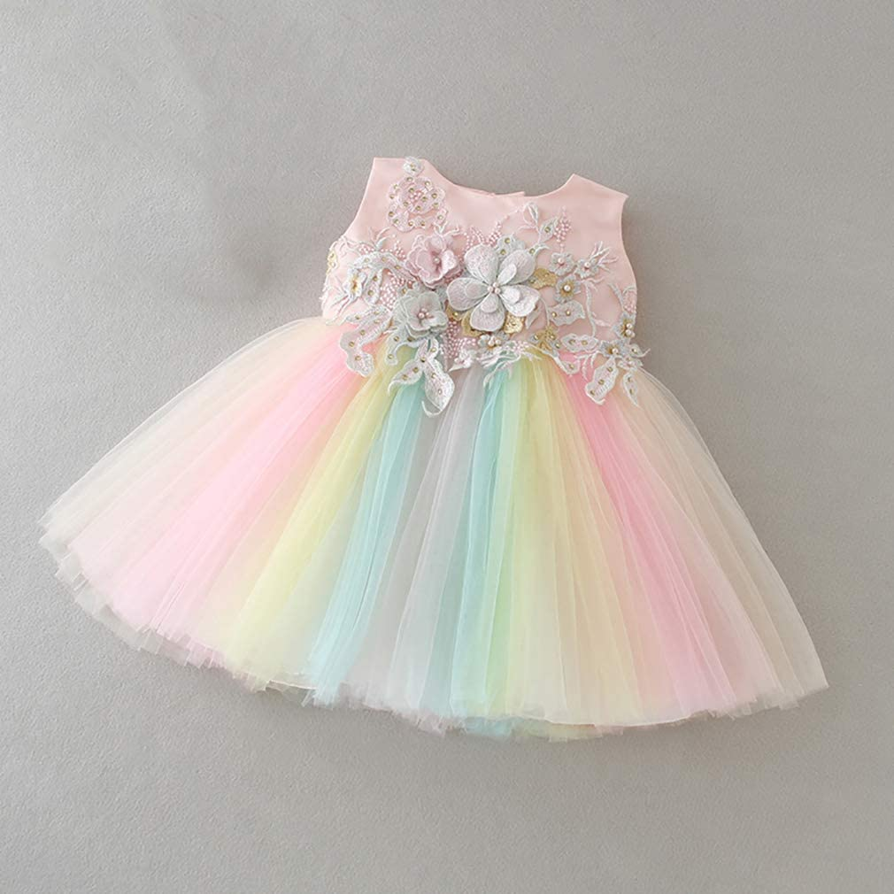 Little Girl Baptism Birthday Gown Infant Full Moon Bridesmaid Rainbow Princess Lace Tutu Easter Evening Party Wedding Dress