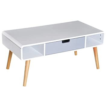Homcom Table Basse Rectangulaire Design Scandinave 100l X 50l X 45h Cm 2 Niches Tiroir Bois Massif Pin Mdf Blanc Bleu Gris