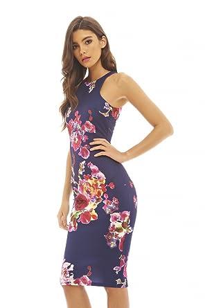 a8ad0d9fe2f2 Amazon.com  AX Paris Women s Cut in Detail Neck Printed Midi Dress ...