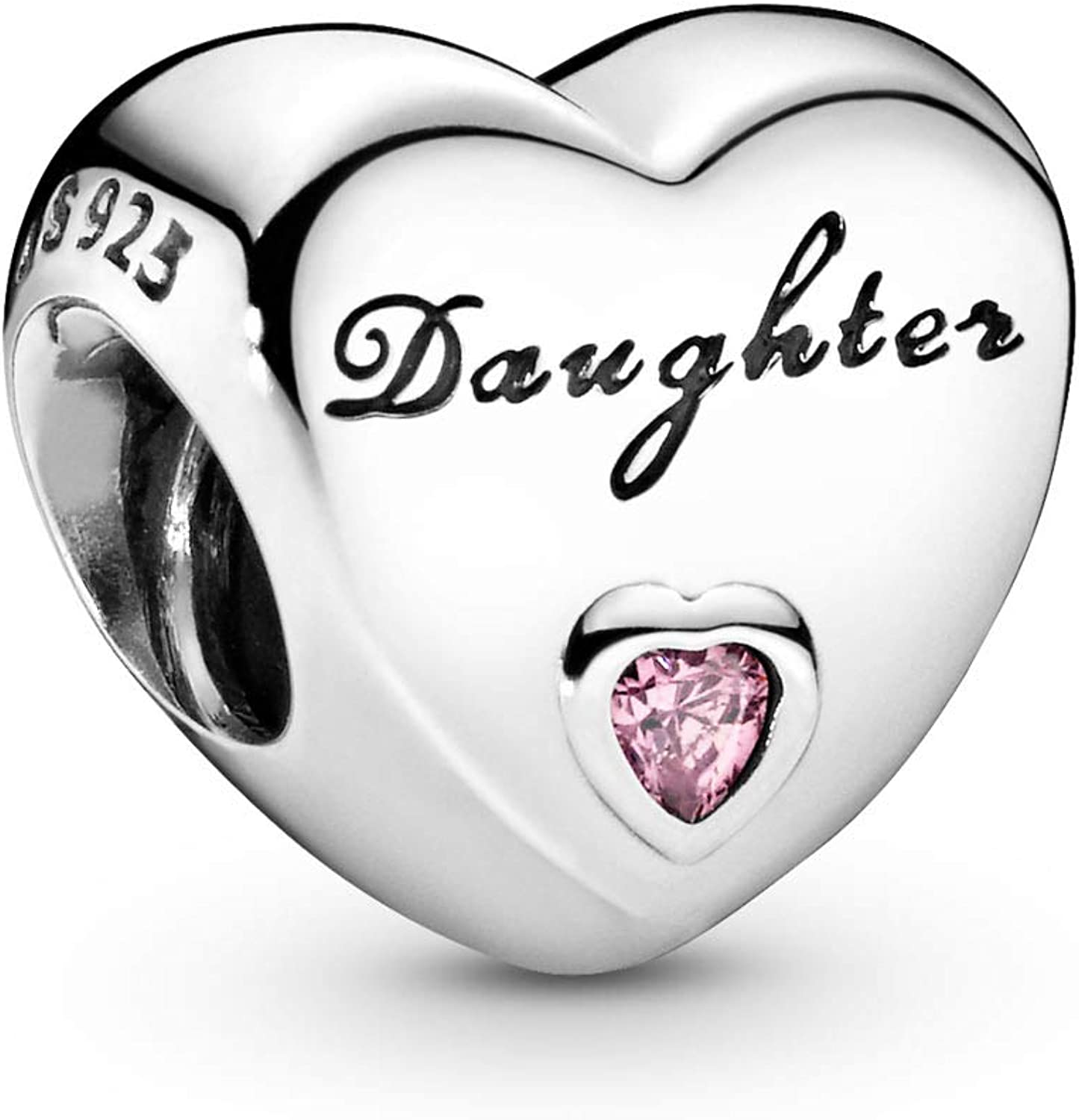 Amazon Com Pandora Jewelry Daughter S Love Cubic Zirconia Charm In Sterling Silver Jewelry