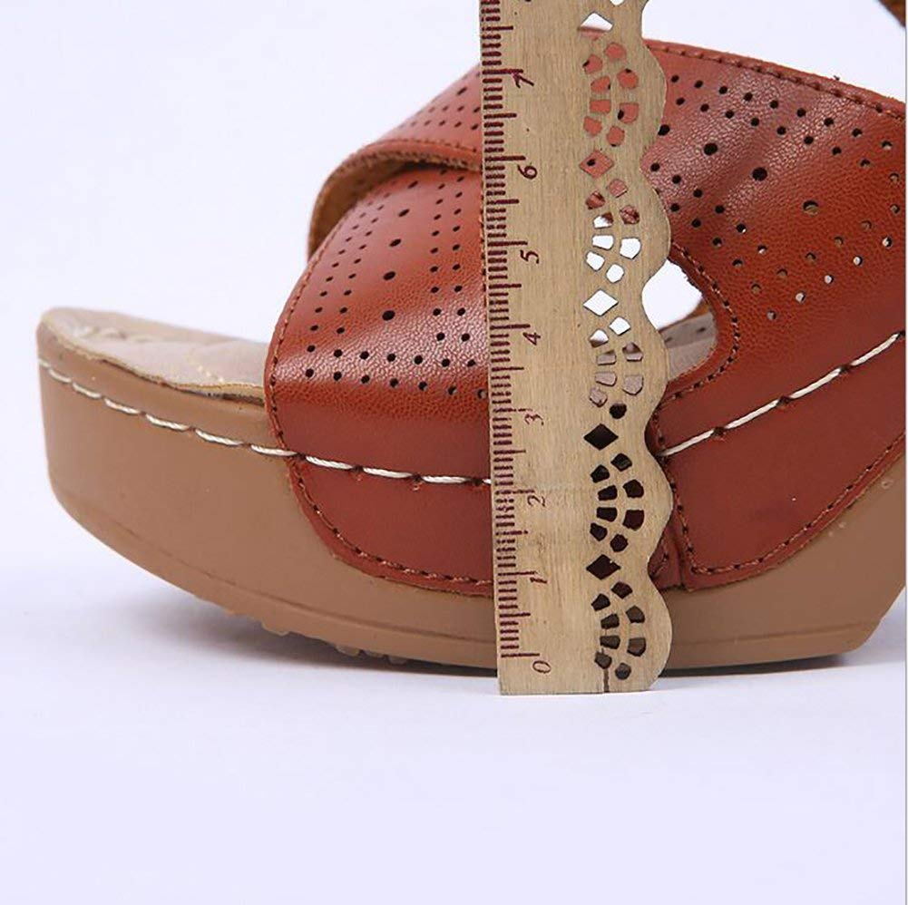 Oudan Damen Hausschuhe Keil Sandalen Sommer Beiläufig Kreuzgürtel Hochhackige Hochhackige Hochhackige Schuhe Mode Flip Flops,38 (Farbe   Wie Gezeigt, Größe   37) a4ea69