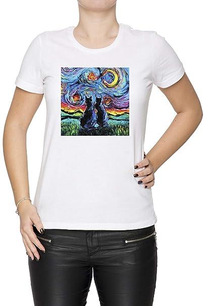 camioneta Gogh Gatos - Gato Mujer Camiseta Cuello Redondo Blanco Manga Corta Todos Los Tamaños Womens White T-Shirt: Amazon.es: Ropa y accesorios