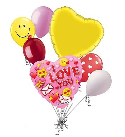 Amazon com: Jeckaroonie Balloons 7 pc I Love You Emoji Happy