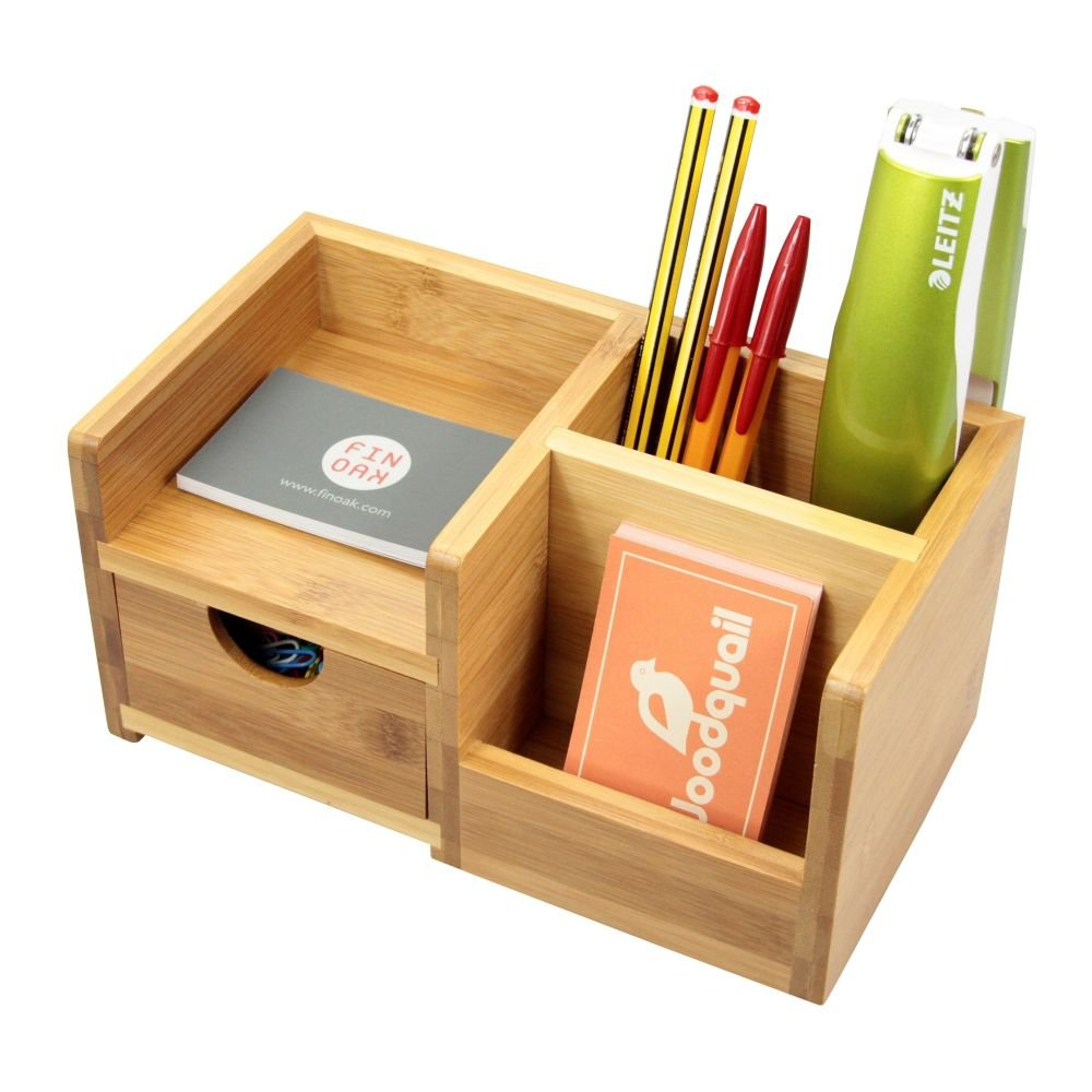 Bambú Organizzatore da Scrivania, Portapenne Portamatite, Porta Memo Bamboo for Home & Office