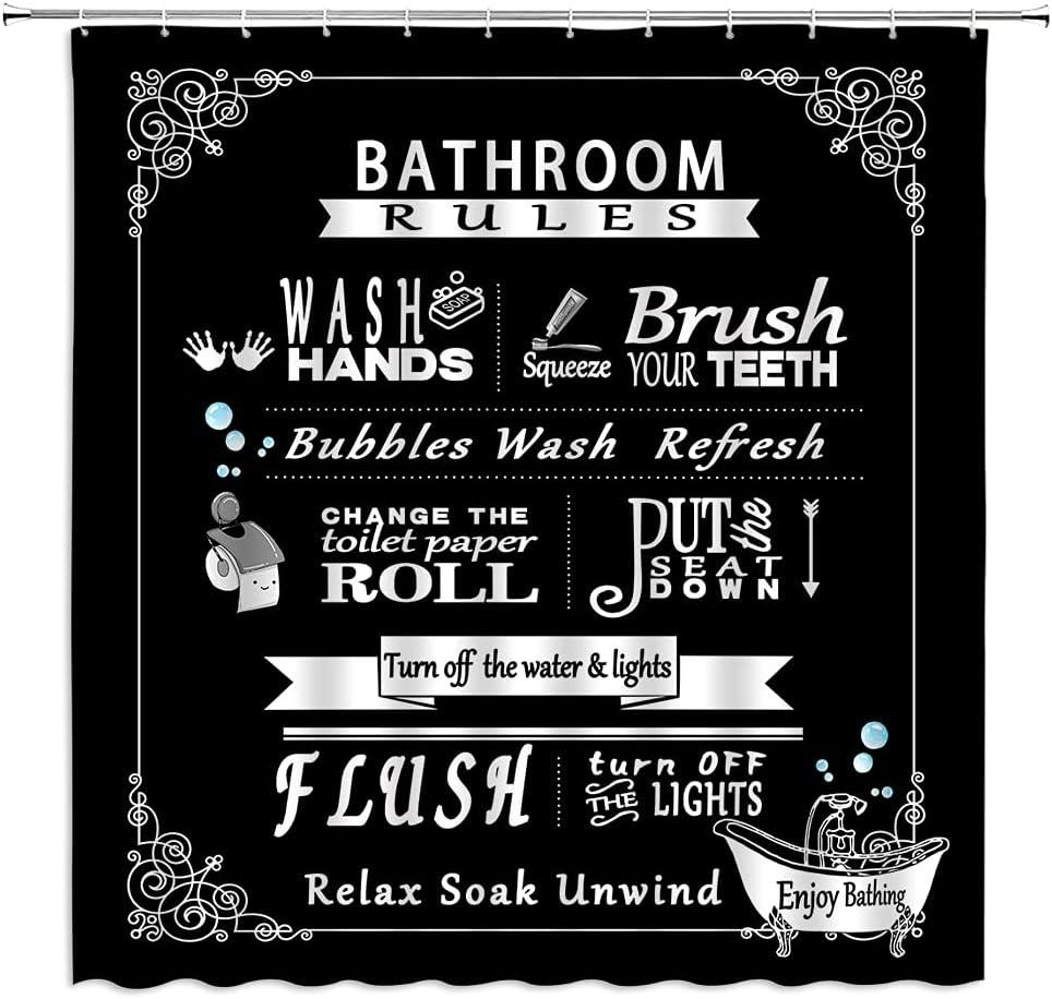 BYLLLFIR Bathroom Rules Shower Curtain Farmhouse Toilet Rules Black Backdrop Decor,Fabric Bathroom Set with Hooks 70x70 Inch,Black
