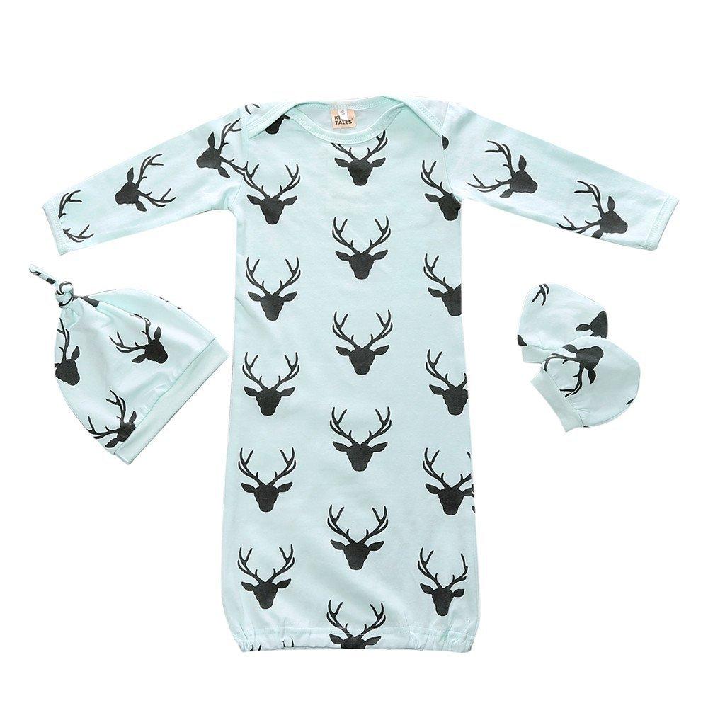 Summer Fall 3pcs Baby Sleepsack Wearable Blanket Deer Blue Gown Sleeping Bag Kids Tales
