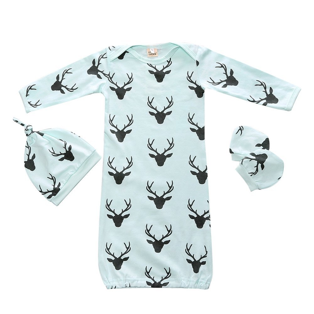 Baby Sleepsack Wearable Blanket Deer Print Blue Gown Sleeping Bag 3pcs Blue Fuzhou Shang Ku Trade Co. Ltd.