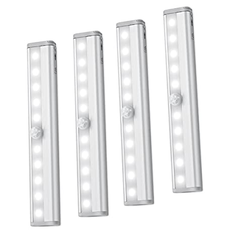 Sensor de movimiento luz Bar, (10 LED, 4 unidades) Sensor armario armario