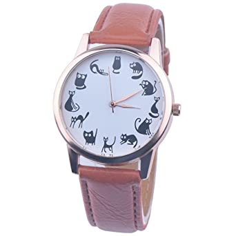 c0d80f74babe11 Amazon | Tonsee レディース腕時計 レザーバンド アナログ表示 可愛い 猫 パターン ウォッチ 女性用 (ブラウン) | レディース腕時計  | 腕時計 通販