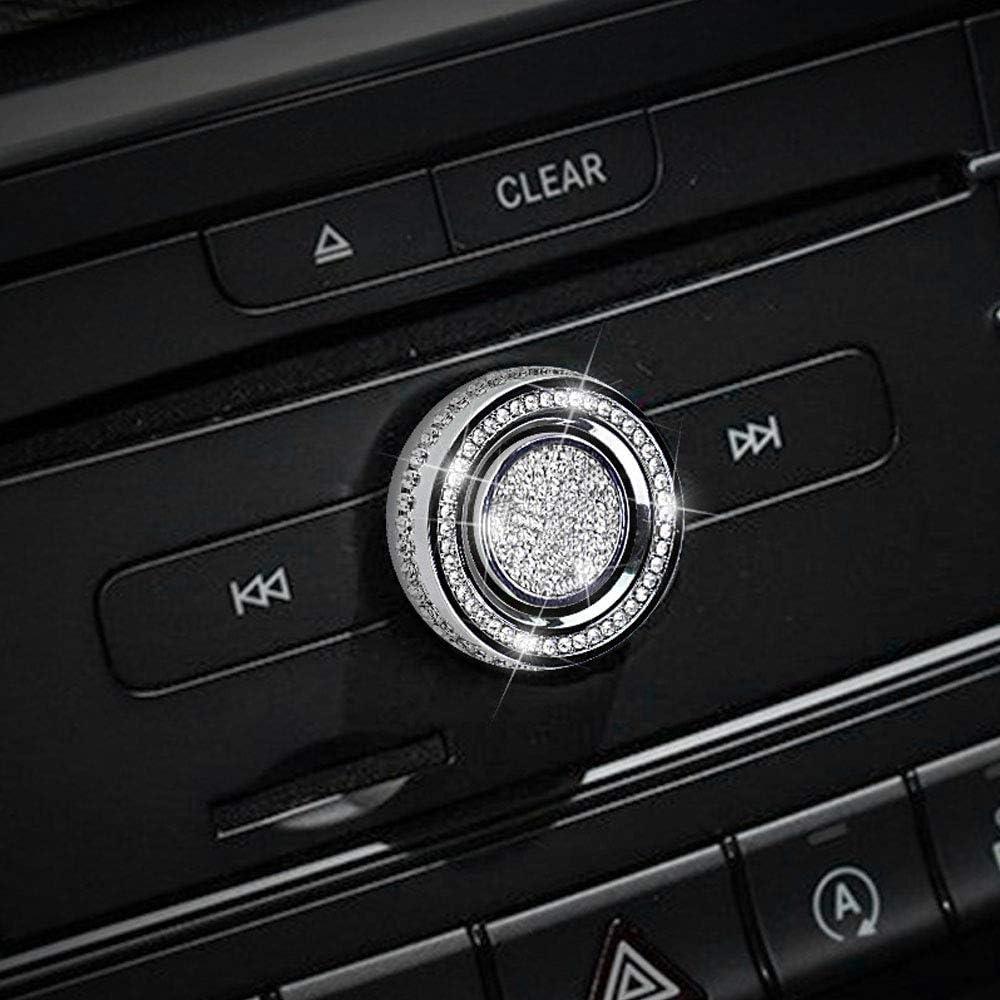 Thor-Ind Bling Crystal Audio Volume Sound Control Knob Button Cover for Mercedes-Benz A B C CLA CLS CLK GLA GLC GLE GL SL Class
