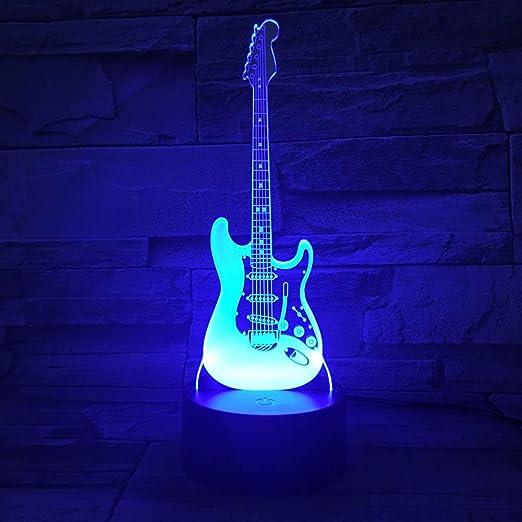 HOMYY 3D Ilusión Noche Luz para Niños LED Guitarra FA Forma Auto 7 ...
