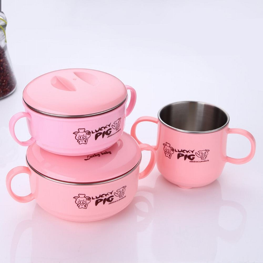 MKKM 304 Stainless Steel Children 'S Bowl Double Drop Shatter-Resistant Drinking Cups Baby Food Bowl Baby Rice Bowl Children Cutlery Set,Pink