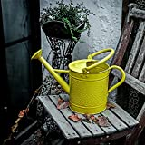 Calunce Double Handle Fashion Rustic Retro Textured Gardening Tools Long Spout Watering Can (green) (yellow)