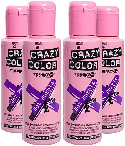 Crazy Colour Semi Permanent Hair Dye By Renbow Hot Purple No.62 (100ml) Box of 4