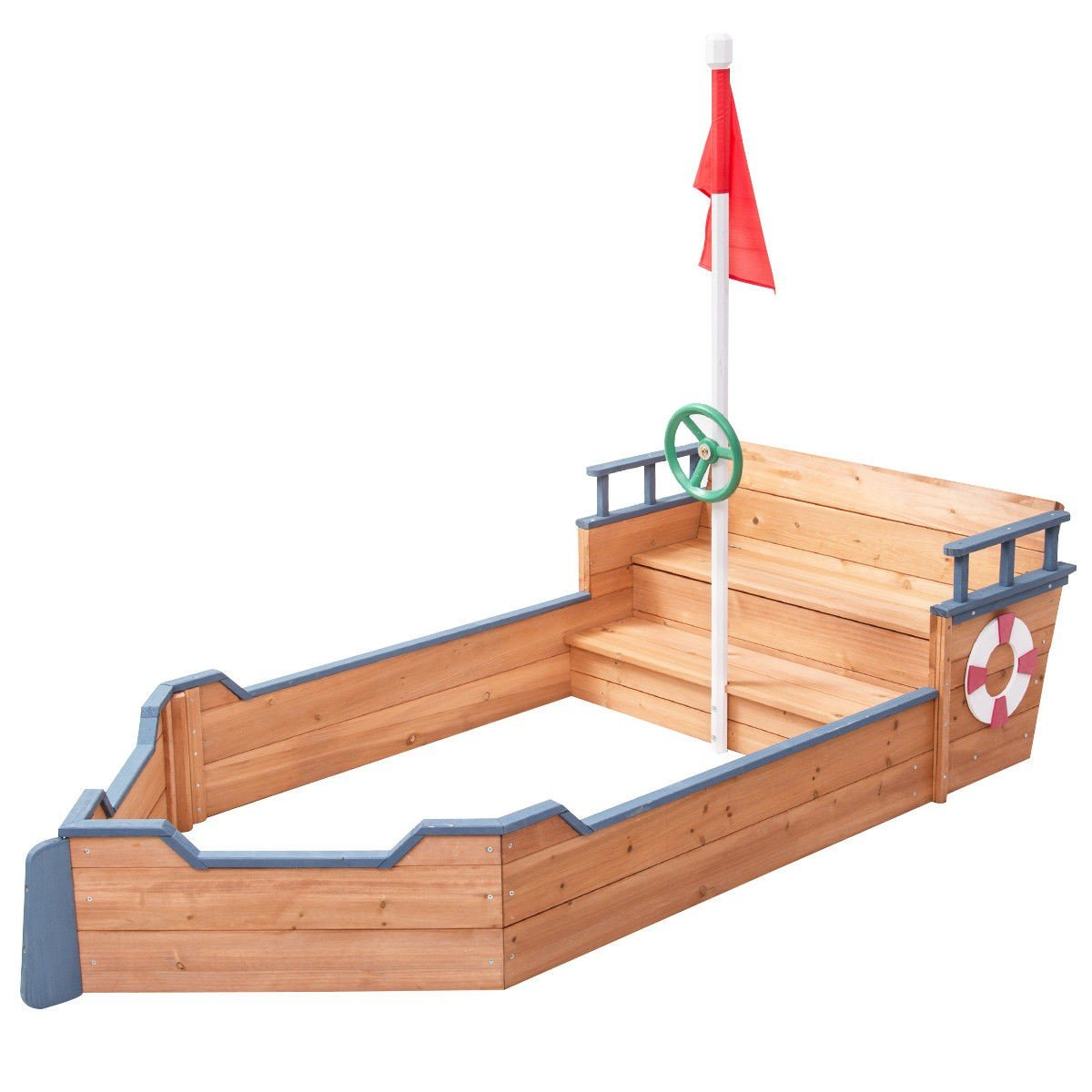 EnjoyShop Kids Pirate Wooden Boat Sandbox with Bench and Flag Fully Adjustable Sand Depth