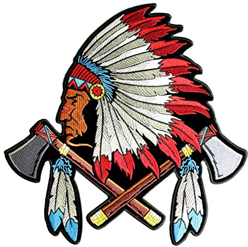 Leather Supreme Native Indian Chief Head Tomahawks, Feathers Embroidered Biker Patch-Red-Medium