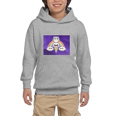Mkajkkok Cute Owl With Ice Cream Teen Hoodies With Kangaroo Pocket Custom Graphic Sweatshirt For Fall/Winter For Boys