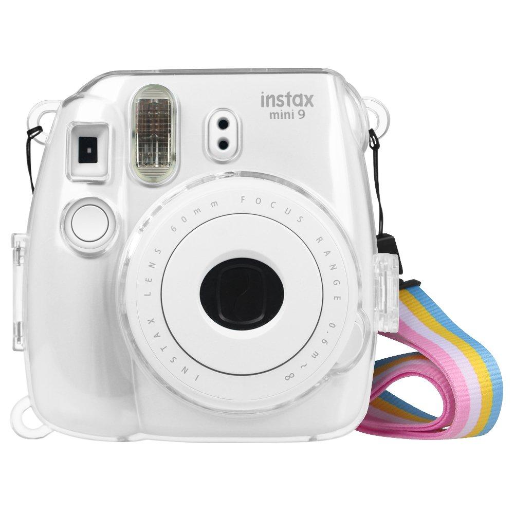 Fintie Fujifilm Instax Mini 9 / Mini 8 / Mini 8+ Custodia - Protettiva Borsa con Tracolla Regolabile in PU Pelle per Fujifilm Instax Mini 8 8s / Mini 9 Fotocamera Istantanea, Azzurro