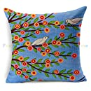 wendana Vintage Flower Birds Tree Pillow Covers Decorative Pillows Throw Pillow Case 18 x 18 for Girls