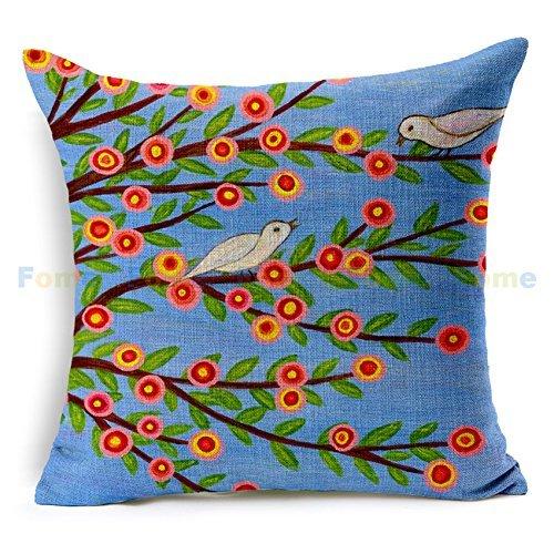 Vintage Bird Flower Pillow Cov...