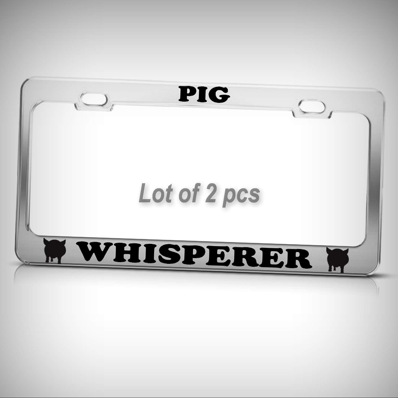 Set of 2 Pcs - Pig Whisperer Funny Heavy Duty Tag Holder License Plate Frame Decorative Border Fun Auto Tag