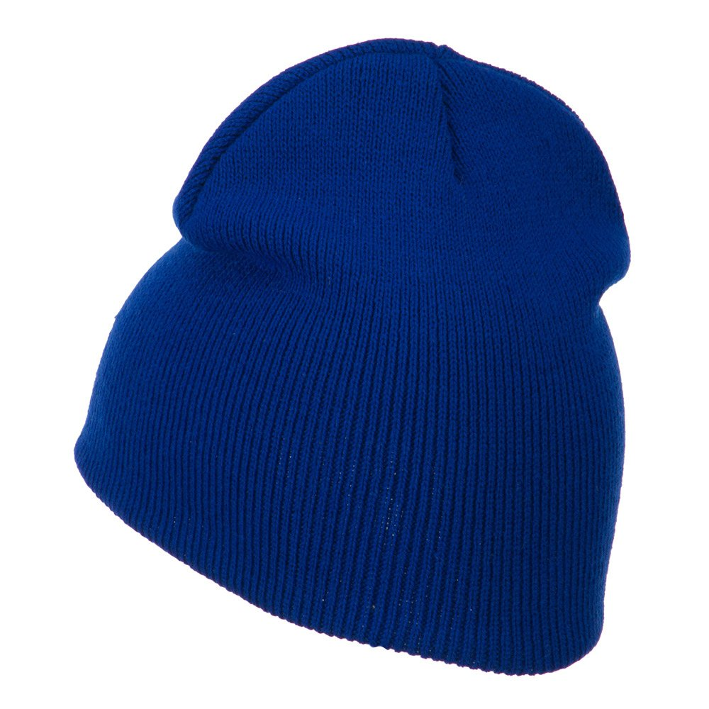Gold Diamond Embroidered Youth Short Beanie Royal