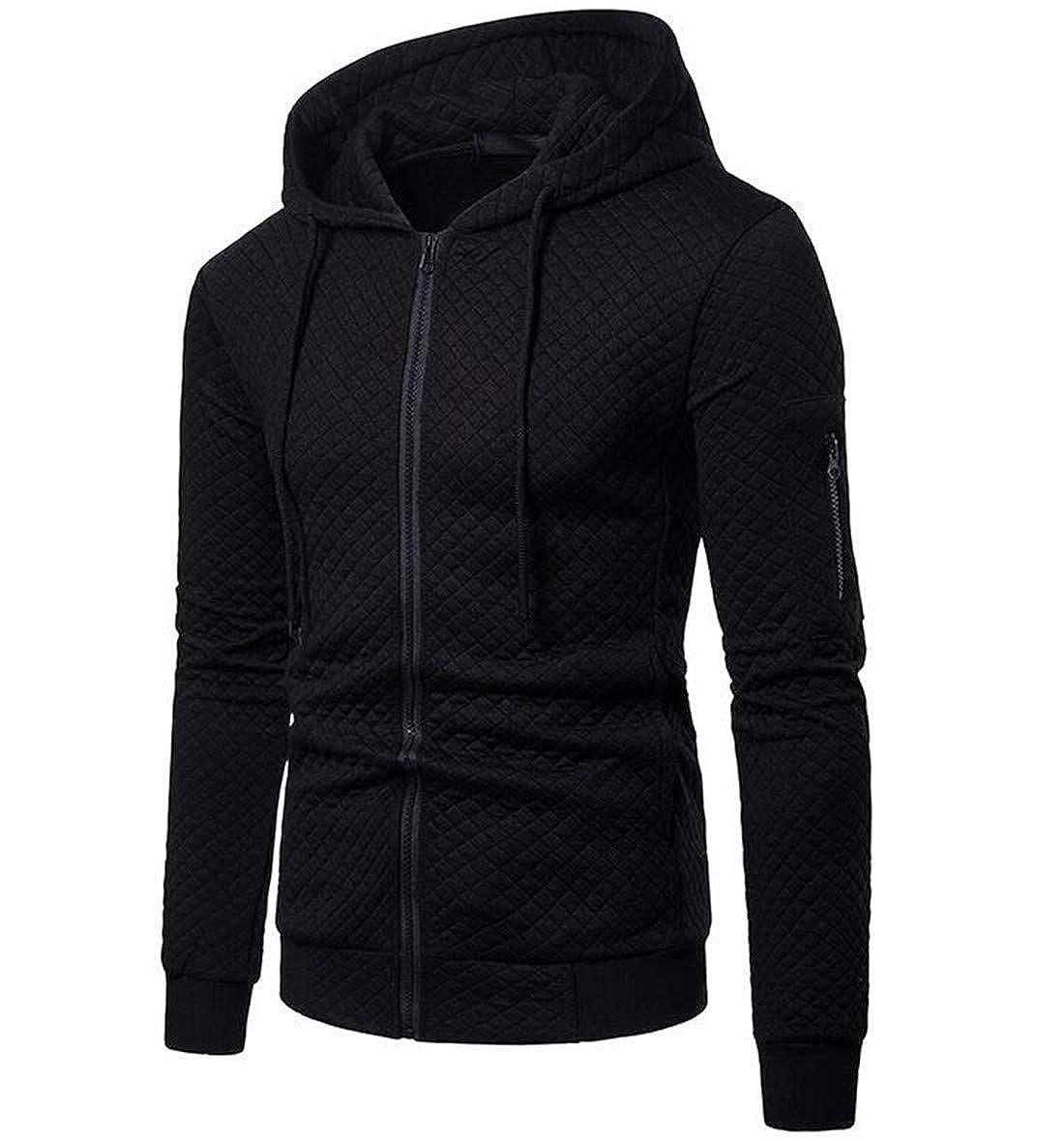 BU2H Men Winter Thicken Slim Fit Long Sleeve Zipper Hooded Jacket Coat