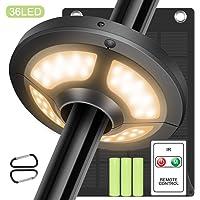 Jirvyuk Lámpara para Sombrilla de Patio con 36 LED, con Control Remoto y Panel Solar, con 2 Modos de Brillo, Iluminación…