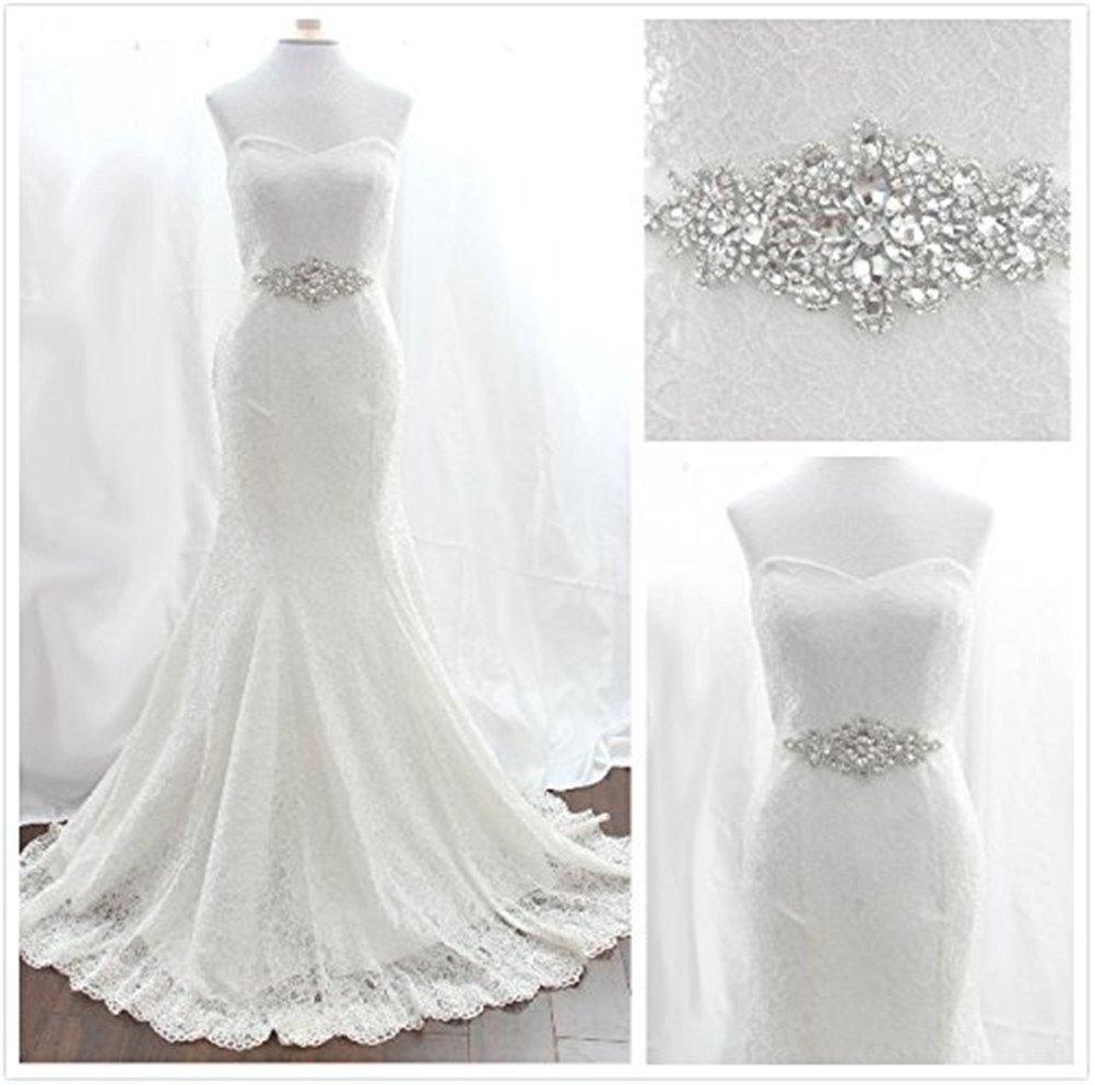 Cinturón TRLYC de perlas y brillantes para vestido de novia, color marfil silver ribbon