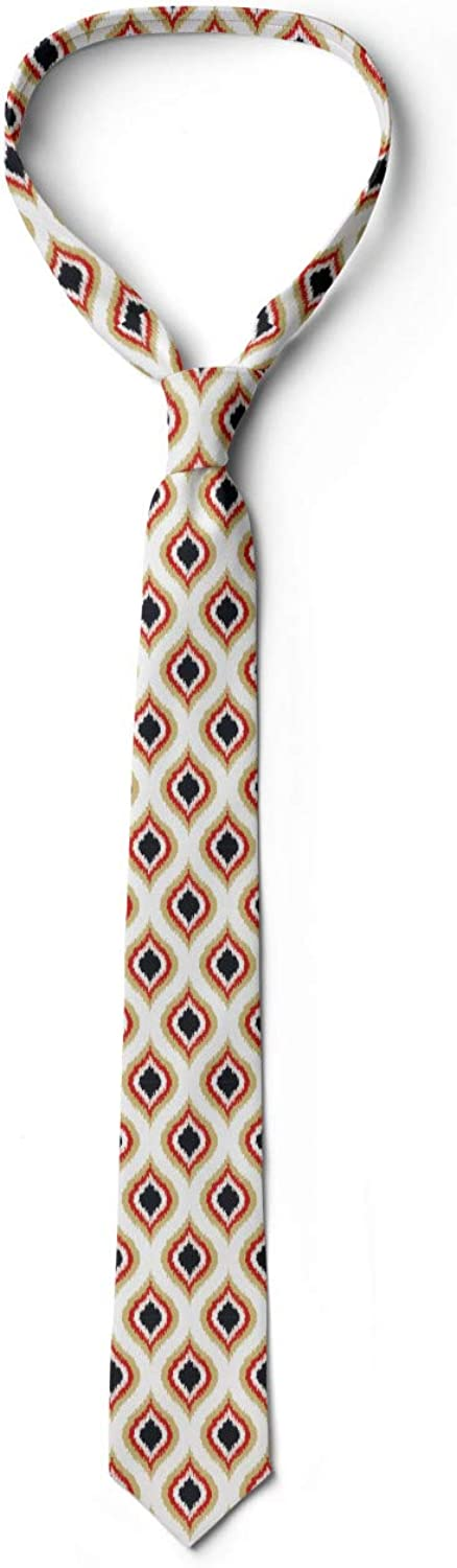 Peacock Tail Oval Pattern 3.7 Cream Vermilion Black Ambesonne Mens Tie