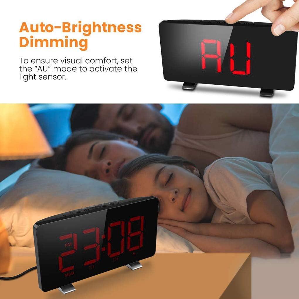 LEVEL GREAT Digital Orologio da Tavolo FM modalit/à Snooze LED Digitale Camera Hotel Display LED Sveglia con Porta USB Display Verde