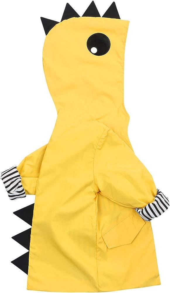 Kehen Boys Girls Dinosaur Print Zip Jacket Hooded Windproof Raincoat Toddler Baby Long Sleeve Hoodie Trench Coat White