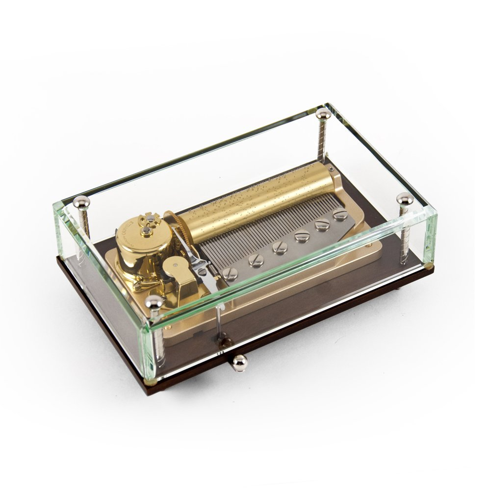 Alluring 50 Note Crystal Music Box with Wood Tone base Special Price - Love Story (2 parts)