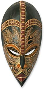 NOVICA Light Brown Handcrafted Nigerian Wood Wall Mask with Aluminum Accents, King's Companion'