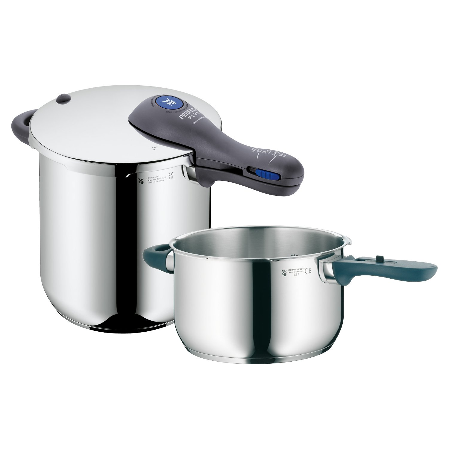 WMF Perfect Plus 8-1/2-Quart and 4-1/2-Quart Stainless Steel Pressure Cookers with Interchangeable Locking Lid by WMF B005EQK3IE