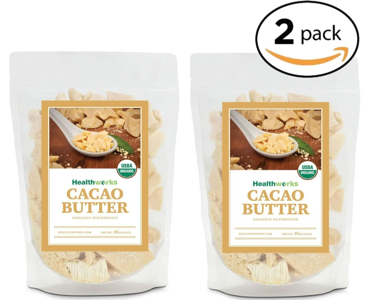 Healthworks Cacao Butter Raw Organic, 2lb (2 1lb Packs) by Healthworks