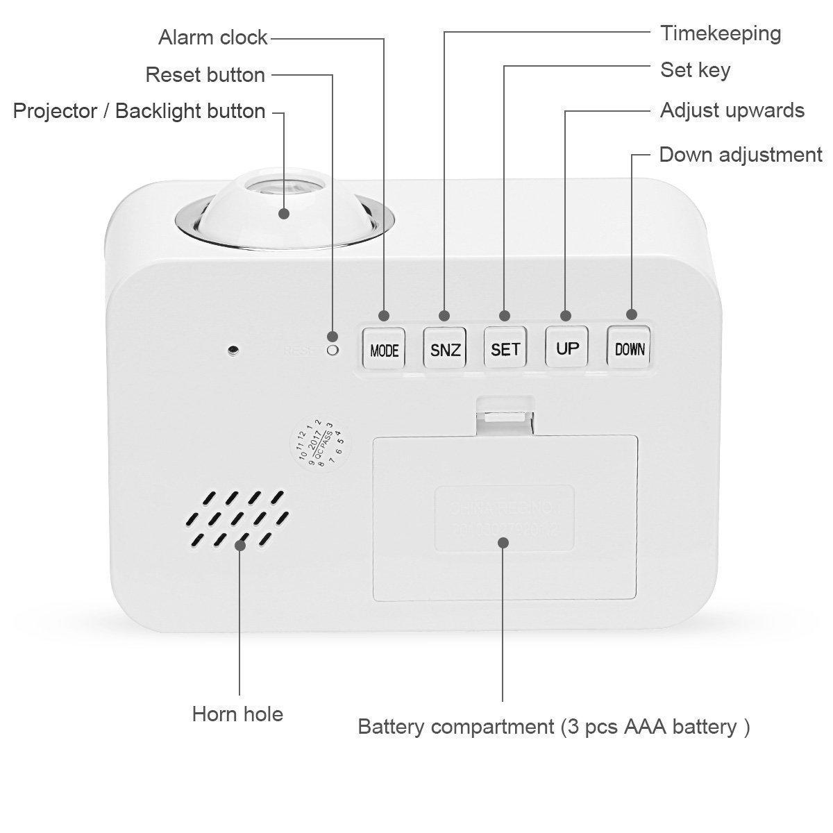 ... voz LED Luz de fondo/Función de dormitar/Temporizador/Hora/Temperatura/Día/Fecha, Reloj Digital para el hogar de la oficina (Blanco): Amazon.es: Hogar